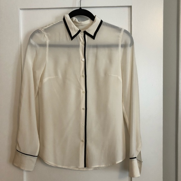 16e8fe8a3eb453 J. Crew Tops | Jcrew White Silk Blouse With Black Trim | Poshmark